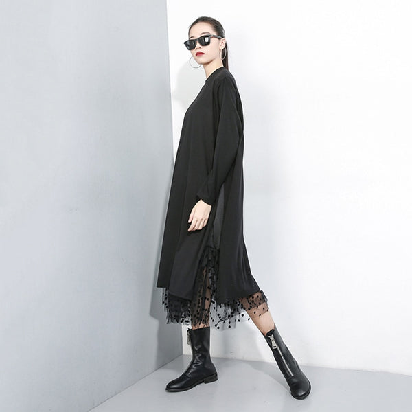 Women Black Mesh Dot Split Joint Dress New Stand Collar Long Sleeve Loose