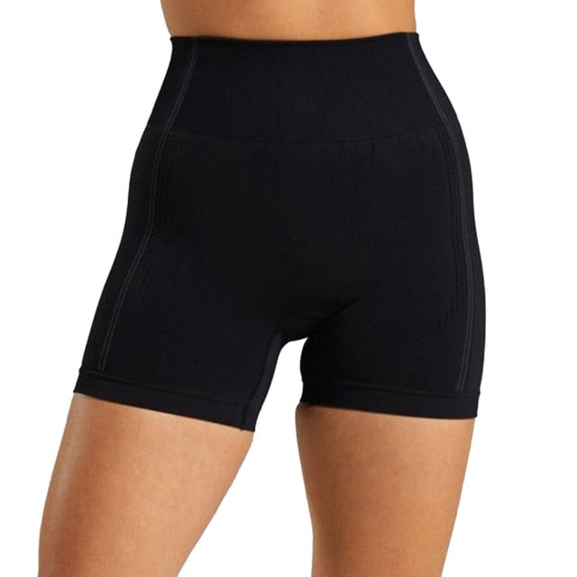 Seamless Yoga Shorts Women High Waist Fitness Workout Yoga Short Pants Push Up Hip High Elastic Sport Running Gym Shorts