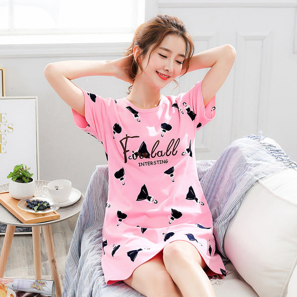 Nightgown Cartoon Print Sleepshirts Nightie Nightdress Cotton Sleepwear