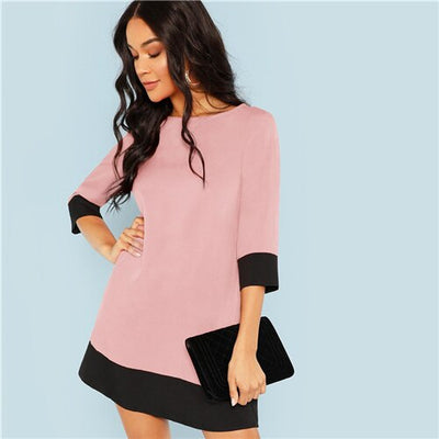 Pink Office Lady Colorblock Contrast Trim Tunic O-Neck 3/4 Sleeve Straight Dress Autumn Workwear Elegant Women Dresses