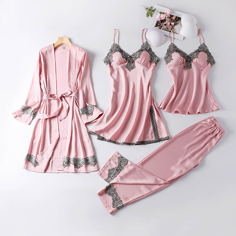 Silk Pajamas Sleepwear Sets Elegant Sexy Lace Fashion Homewear