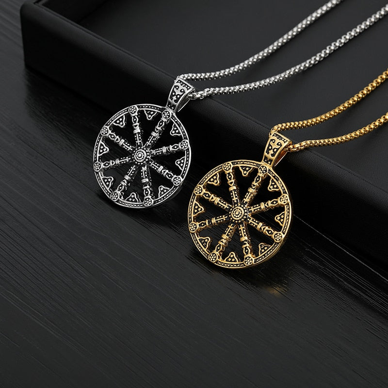 Amsara Buddhist Necklaces For Men Gold Chain Sliver  Color Stainless Steel Talisman Pendant Necklace Wheel hip hop jewelry Gifts