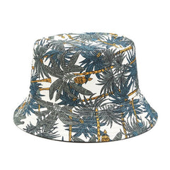 Two Side Reversible Coconut Tree Bucket Hat Unisex Printing Hip Hop Hat For Women Men Panama Cap Summer Fisherman Hat