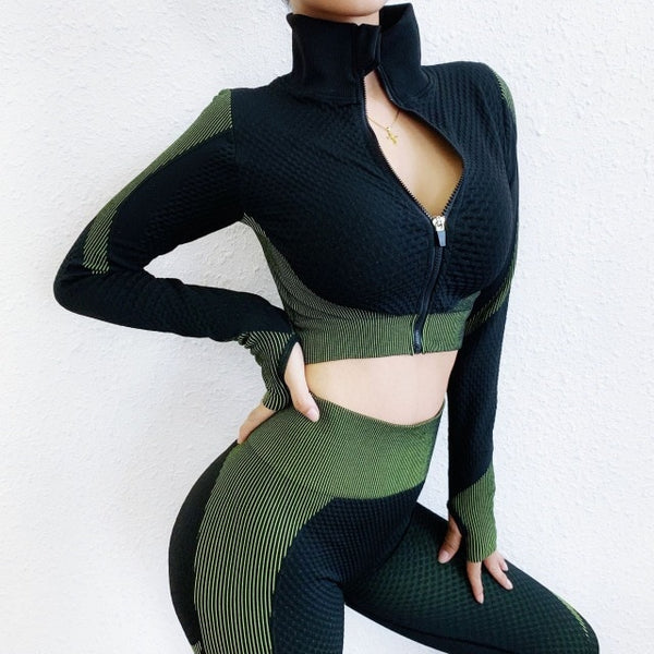 Ensemble Women Sportswear Fitness Zipper Jacket Sport Suit Seamless Workout Yoga Set