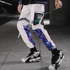 Streetwear Men Hip Hop Patchwork Sweatpants Joggers Trousers Casual Drawstring Sportwear Pants Male New Men Cargo Pants