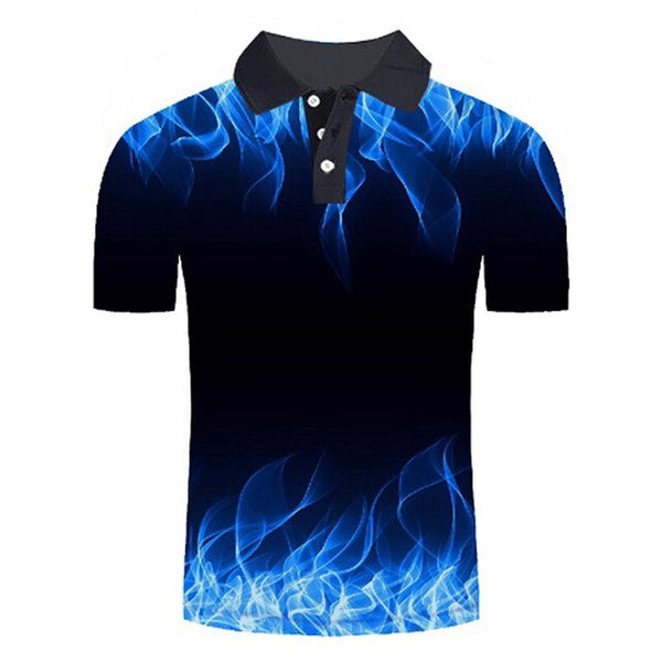 Polo shirt men Business Casual male polo shirt Short Sleeve Blue flame 3D print tops polo homme polo shirt