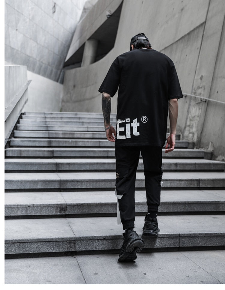 Streetwear Hip Hop Joggers Men Cargo Pants Pockets New Black Track Tactical Casual Ribbons Male Trousers Sweatpants