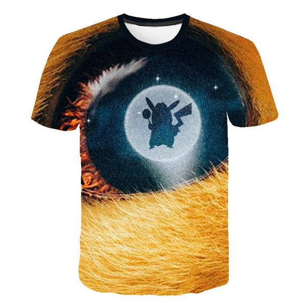 3D Movie Detective Pokemon Pikachu T-shirt For Boy/girl Tshirts Fashion Summer Casual Tees Anime Cute Cartoon Clothes