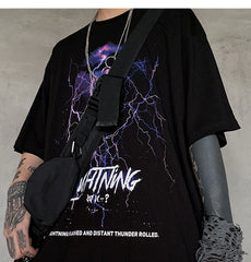 Lightning Print T Shirt Men Summer Casual Tshirt Tees Hip Hop Harajuku Loose Streetwear Short Sleeve Shirts