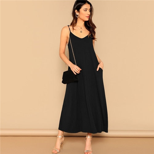 Pocket Patched Swing Cami Summer Dress Women Clothes Solid Casual Sleeveless Straight Maxi Dress Ladies Black Dress