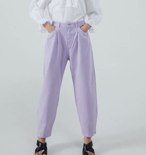 Women pants vintage denim pants casual streetwear fashion violet mom jeans
