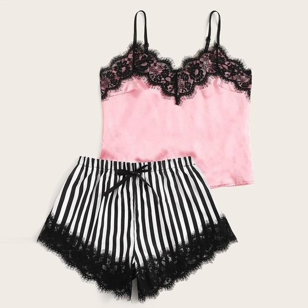 Lace Satin Cami With Striped Women Pijamas Sexy Sleepwear