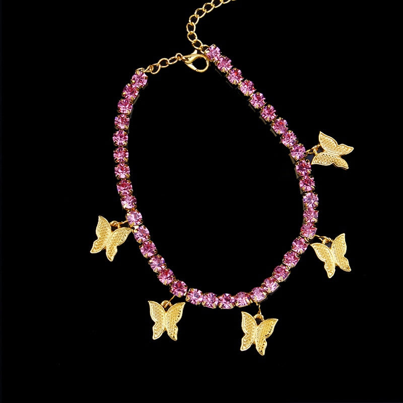 Gold Butterfly Anklet Rhinestone Crystal Ankle Bracelet Boho Beach Anklets for Women Sandals Foot Bracelets Female Jewelry