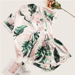 Tropical Print Satin Pajama Set Casual Sleep Wear Shorts Sets Short Sleeve Pocket Women Summer Pajama Set