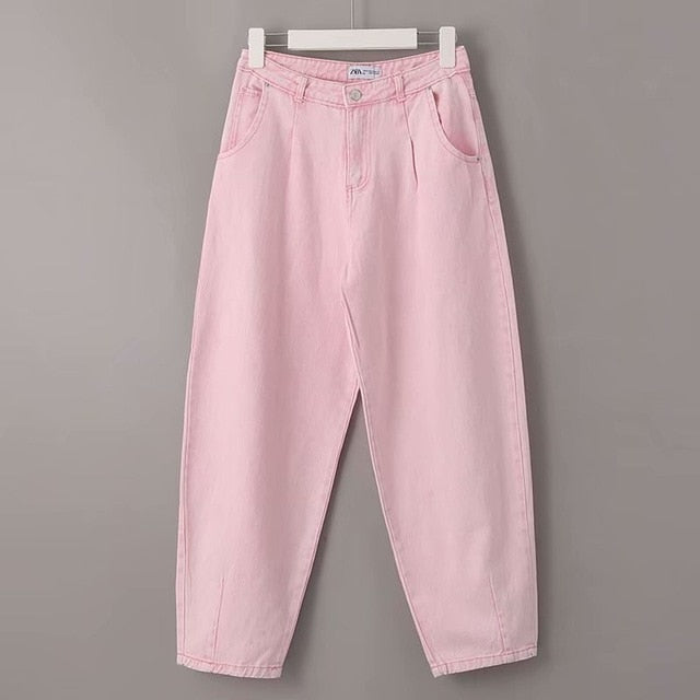 High Waist Pink Harem Pants Loose Trousers  Summer Women Leisure Pants