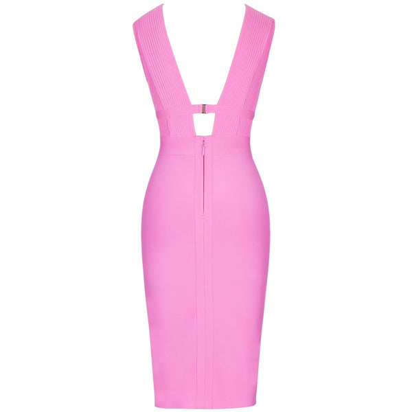Women Cut Out Bandage Dress Bodycon Sexy Double Deep v Neck Pink Bandage Dress Rayon Evening Party Dress