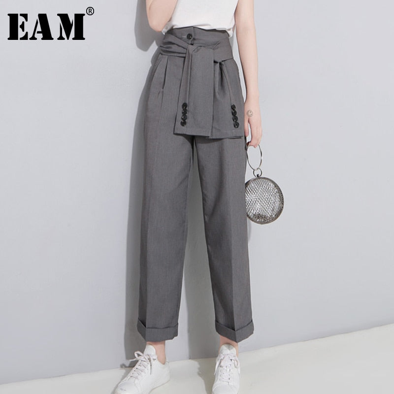 High Waist Lace Up Black Slim Temperament Tide Trend Fashion New Women's Wild Casual Wide Leg Pants