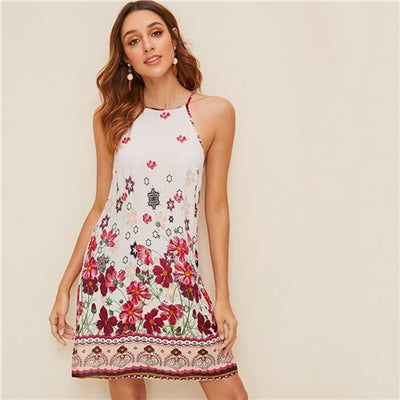 Floral Print Spaghetti Strap Boho Beach Straight Dress Women Summer Holiday Sleeveless Button Back Short Cami Dresses