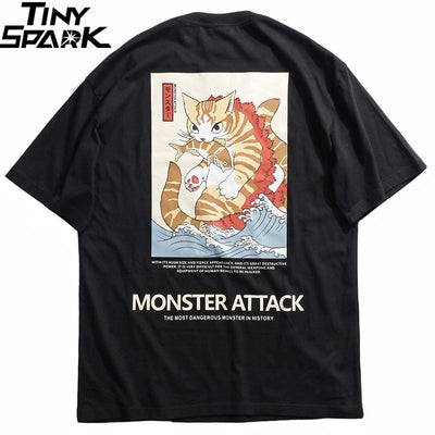 Men Hip Hop T Shirt Streetwear Monster Cat T-Shirts Harajuku Japan Style Funny Tshirt Summer