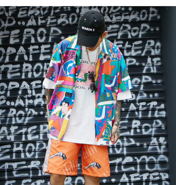 Summer Vintage Hawaiian Shirts Men Hip Hop Japanese Streetwear Ukiyoe Casual Shirt Man Loose Short Sleeve Shirts