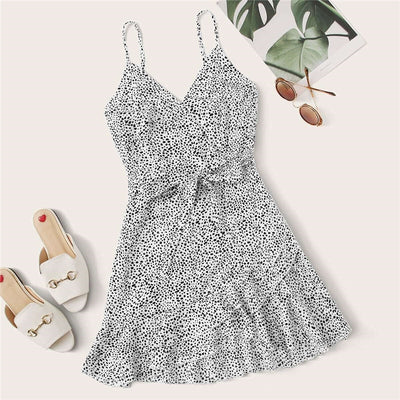 Surplice Wrap Belted Dalmatian Print Ruffle Hem Cami Dress Women Summer Asymmetrical Hem Boho Short Dresses