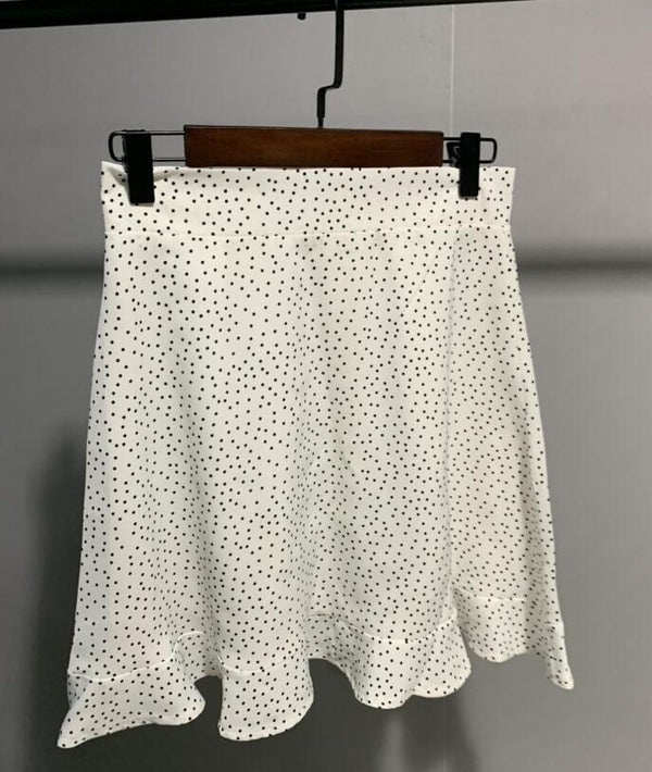 Women Dots Mini Skirt Green White Saia High Waistline Faldas sexy Skirts Summer