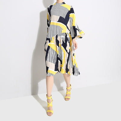 Autumn Stand Collar Long Flare Sleeve Pattern Striped Printed Pleated Loose Dress Women