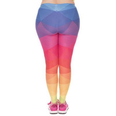 Fashion Large Size Leggings Triangles Rainbow Printed High Waist Leggins