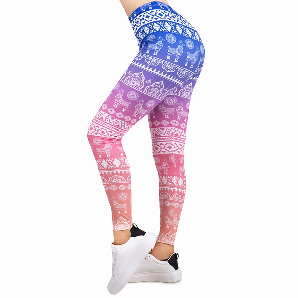 Women Legging Gradient Printing Leggins Slim High Elasticity Legins Fitness Leggings Female Pants