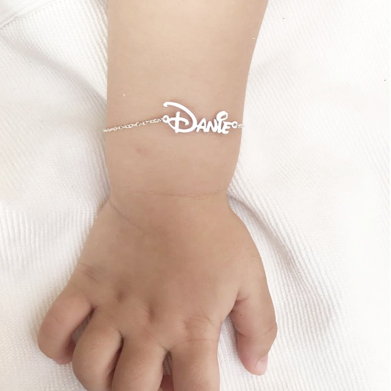 Baby Bracelet Stainless Steel Custom Name Bracelet Custom Jewelry  Nameplate Charm Bracelet For Child BFF