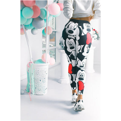 Women Minnie Mickey Yoga Gym Leggings Athletic Women Sport Clothing