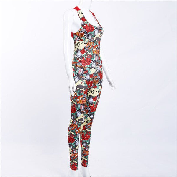 Jumpsuit Floral Flower Women Tracksuit Running Clothing Fitness Sport Suit