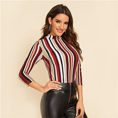 Multicolor Mock-neck Form Fitted Striped Top Slim 3/4 Length Sleeve Elegant Office Lady Tshirt Tops