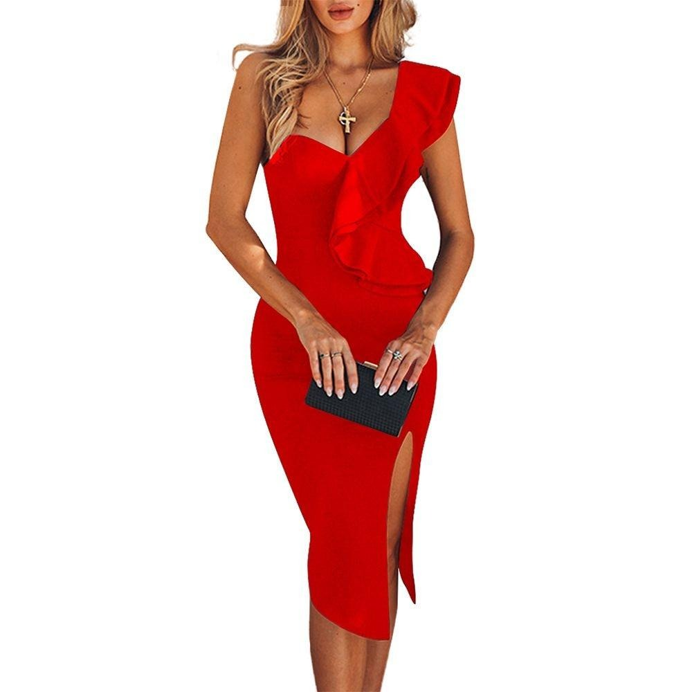 Women One Shoulder Bandage Dress Elegant Ruffles Red Bandage Dress Sexy Party Night Club Dress
