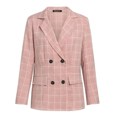 Fashion plaid women blazer suits Long sleeve double breasted blazer
