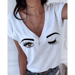 Summer Plus Size 5XL Eyebrows Eye Print Short Sleeve V-neck Women