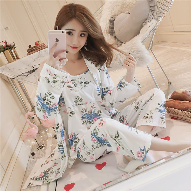 Woman Pajamas Set Sling Cotton 3 Peices Sleepwear