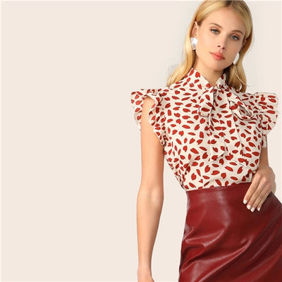 Elegant Red Bow Tie Neck Ruffle Trim Petal Print Top Blouse Workwear Sleeveless Blouses