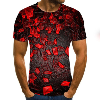 Pattern men's T-shirt summer fashion short-sleeved 3D round neck top retro shirt streetwear oversized men's T-shirt