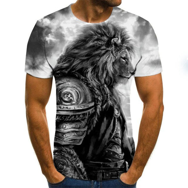 Men's T-shirt fierce lion tiger tops 3D printed short-sleeved funny animal T-shirt casual round neck shirt streetwear