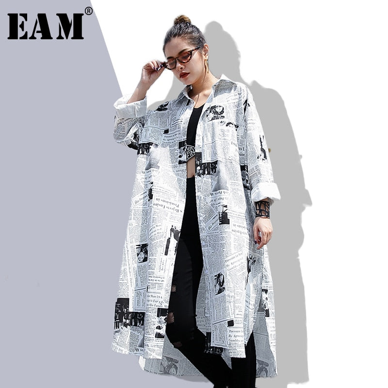 Spring Autumn Lapel Long Sleeve White Printed Loose Irregular Big Size Long Shirt Women Blouse Fashion Tide