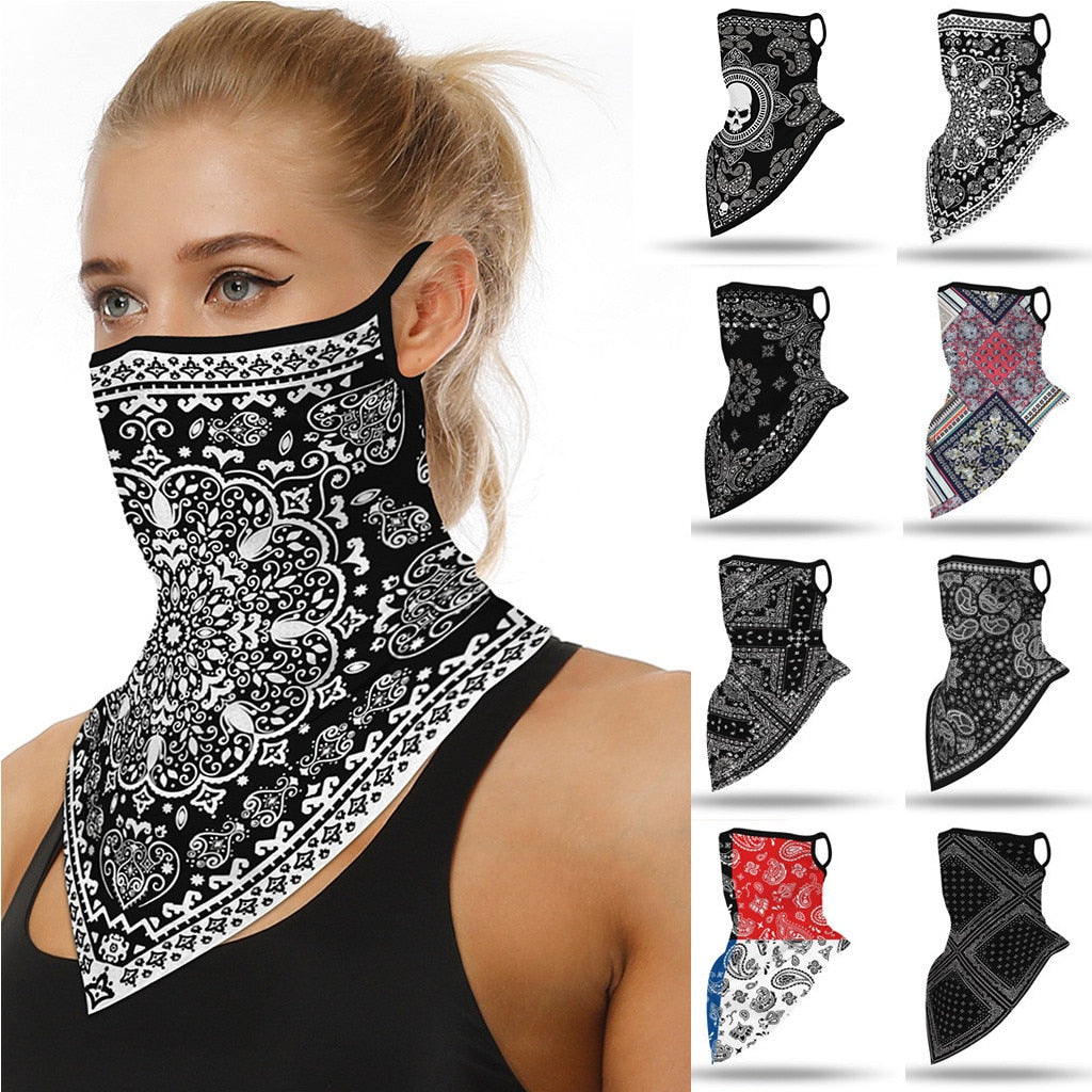 Outdoor Geometric Print Seamless Ear Face Cover Sports Washable Scarf Neck Tube Face Dust Riding Facemask Windproof Bandana
