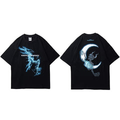 Men Hip Hop T Shirt Lightning Skull Moon Streetwear T-Shirt