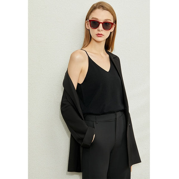 Minimalism Spring Summer Knitted Soft Solid Vest tops Women Causal Vneck sleeveless Camisole Top Women