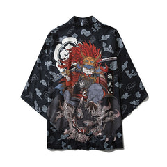 Japanese Style Cat Samurai Kimono Streetwear Men Women Cardigan Japan Harajuku Anime Robe Anime Clothes