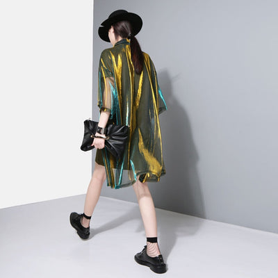 Lapel Three-quarter Sleeve Green Shing Perspective Loose Big Size Shirt Women Blouse \
