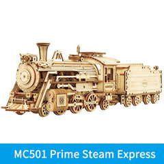 ROKR Train Model 3D Wooden Puzzle Toy Assembly Locomotive Model Building Kits for Children Kids Birthday Gift