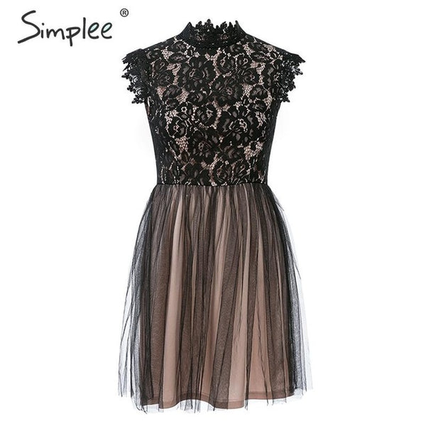 Simplee Women sleeveless lace dress Sexy embroidery floral black short party dress