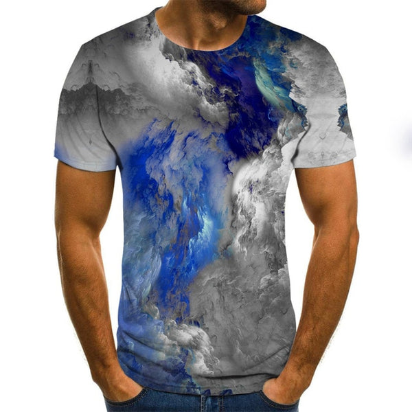 Ink style men's T-shirt 3D creative cloud graphic T-shirt summer casual tops fashion round neck shirt plus size streetwear