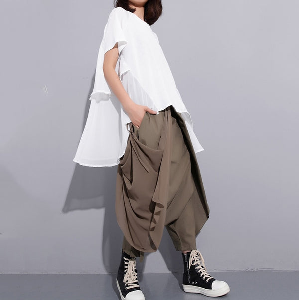High Elastic Waist Black Fold Bandage Stitch Loose Long Cross-pants Women Trousers Fashion